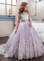 Gorgeous Tulle & Satin Jewel Neckline Ball Gown Flower Girl Dress WLace ... - $141.00+