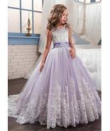 Gorgeous Tulle & Satin Jewel Neckline Ball Gown Flower Girl Dress WLace Applique - £108.18 GBP - £123.52 GBP