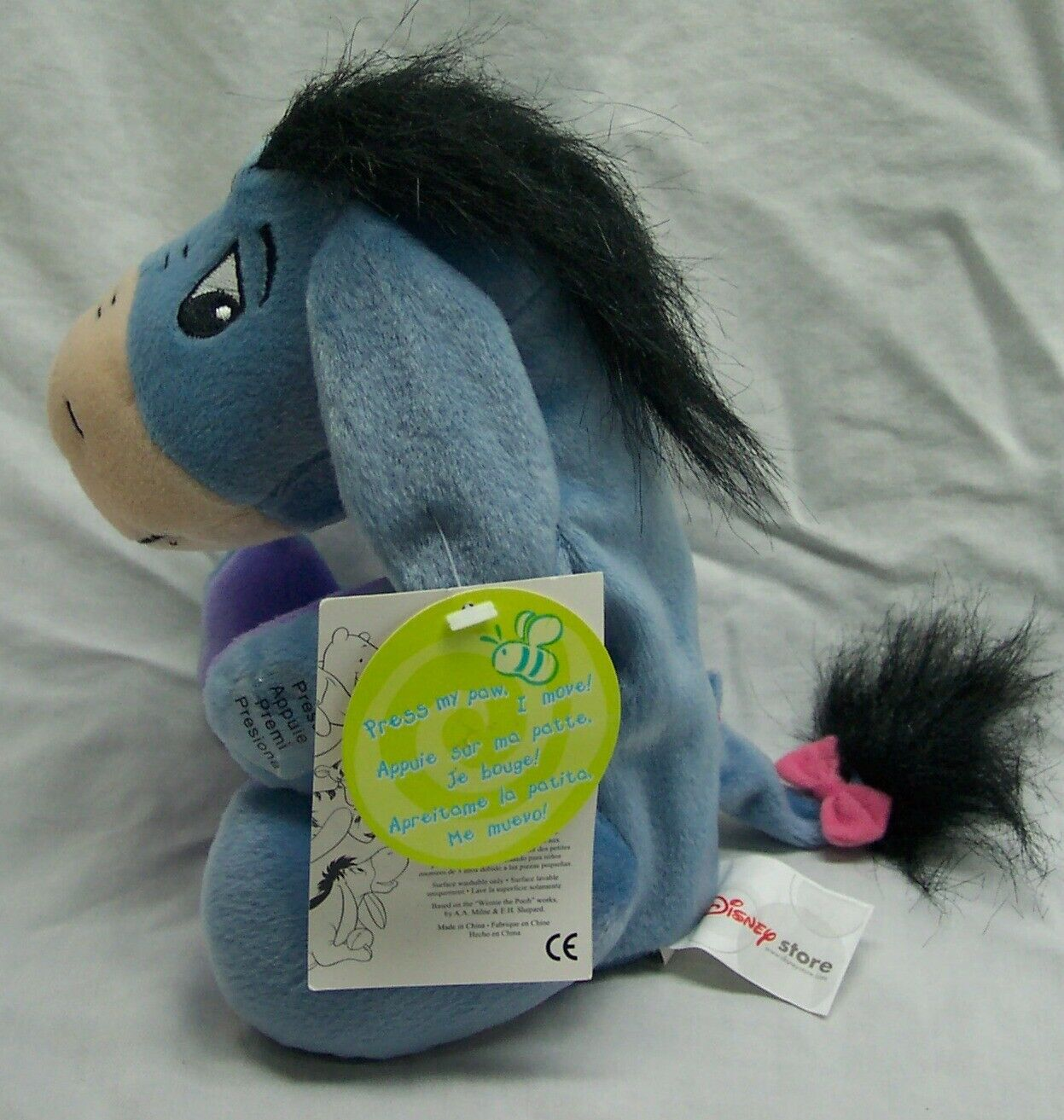 "Disney Store Winnie the Pooh TALKING MOVING EEYORE 8"" Plush Stuffed Animal NEW image 2"