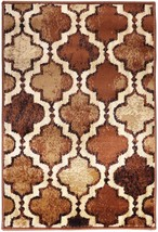 Modern Viking Brown Geometric Trellis Design 2'x3' Rug Water Repellent - $29.95
