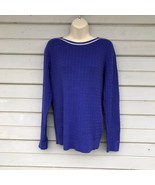 Tommy Hilfiger Sweater XL Blue Women's Silver 100% Cotton Ribbed Classic - $35.00