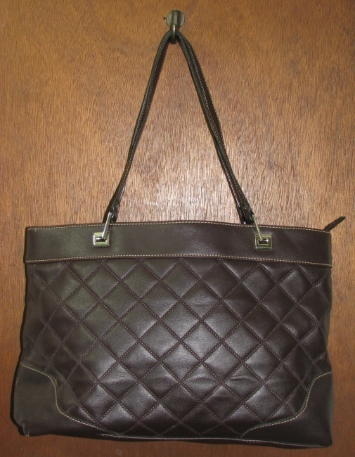 Primary image for Large Dark Brown Crazy Horse Quilted Purse, Handbag