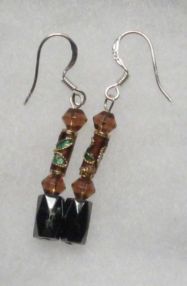 Primary image for Hematite Earrings - Amber Crystal, Cloisonne Earrings