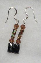 Hematite Earrings - Amber Crystal, Cloisonne Earrings - $12.99