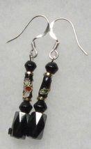 Hematite Earrings- Black Crystal, Cloisonne Earrings - $12.99