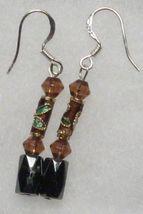 Hematite Earrings - Brown Crystal, Cloisonne Earrings - $12.99