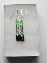 Hematite Earrings - Green Crystal, Cloisonne Earrings - $12.99