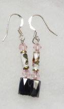 Hematite Earrings -  Pink Crystal, Cloisonne Earrings - $12.99