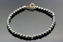 14k Yellow Gold Bracelet W Hematite Pearls 7.8g.  #30119 - $148.49