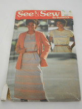 Vintage 1980s Butterick Size 14/16/18 6629 dress bust 34 cut sewing pattern - $11.87