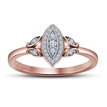 14k Rose Gold FN 925 Silver Marquise Shape Wedding Ring With Round Cut D... - $69.69