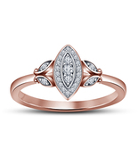 14k Rose Gold FN 925 Silver Marquise Shape Wedding Ring With Round Cut D... - $73.09