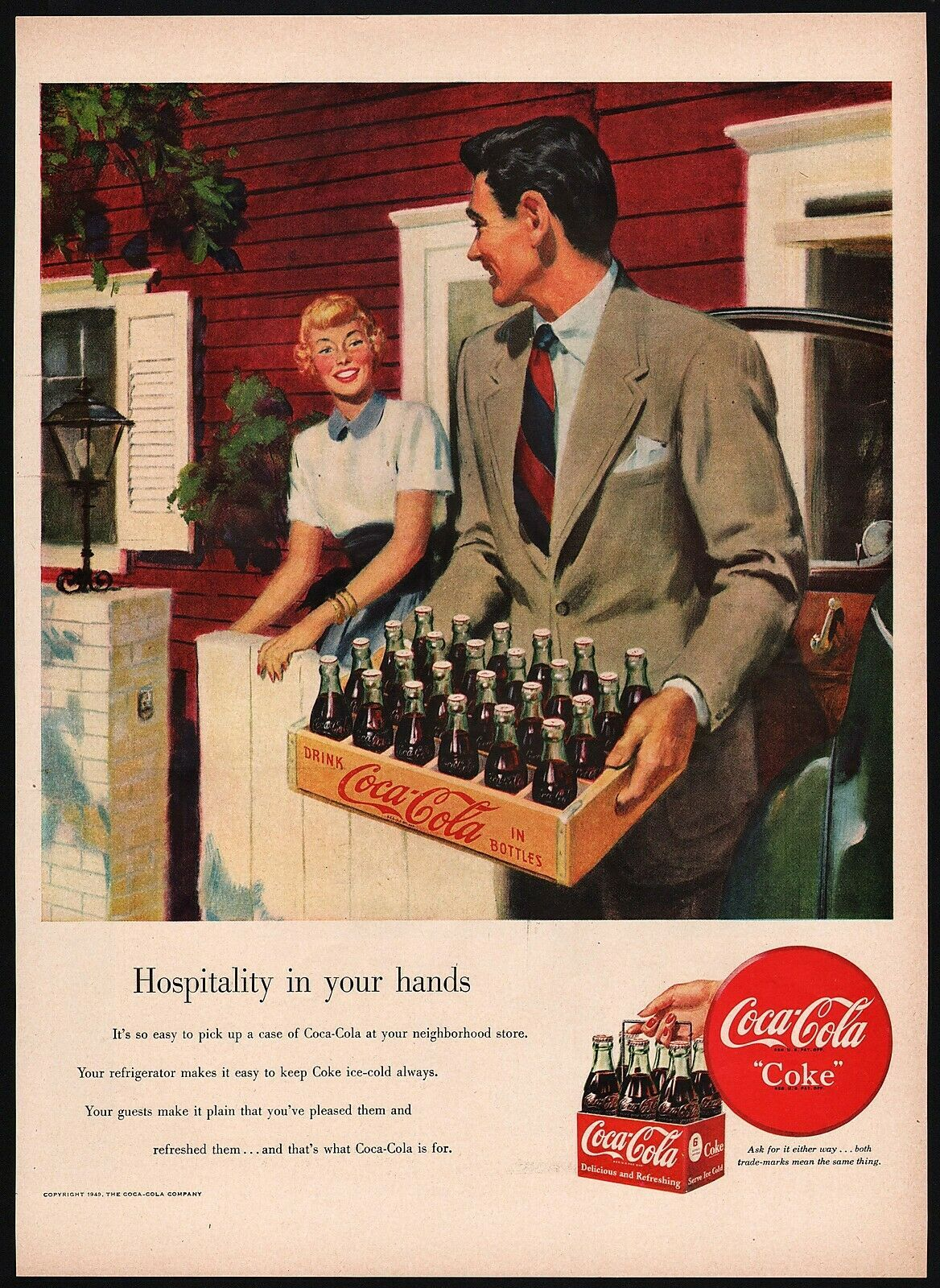 Primary image for Vintage magazine ad COCA COLA from 1949 man with yellow case and 6 pack pictured