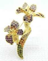 VTG TRIFARI 1997 Gold Tone Purple Orange Rhinestone Large Orchid Pin Brooch - $123.75