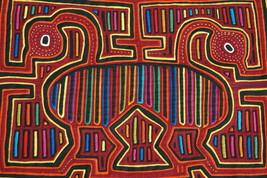 Kuna Geometric Traditional Mola Hand stitched Applique Heron Mirror Imag... - $66.49