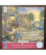 Thomas Kinkade Studios Amsterdam Cafe Ceaco 1000 Piece Puzzle w/ Poster ... - $15.59