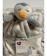 New Gray White Baby Boy Girl Blanket w/ Lovie Set Penguin Plush Soft Cud... - $24.14