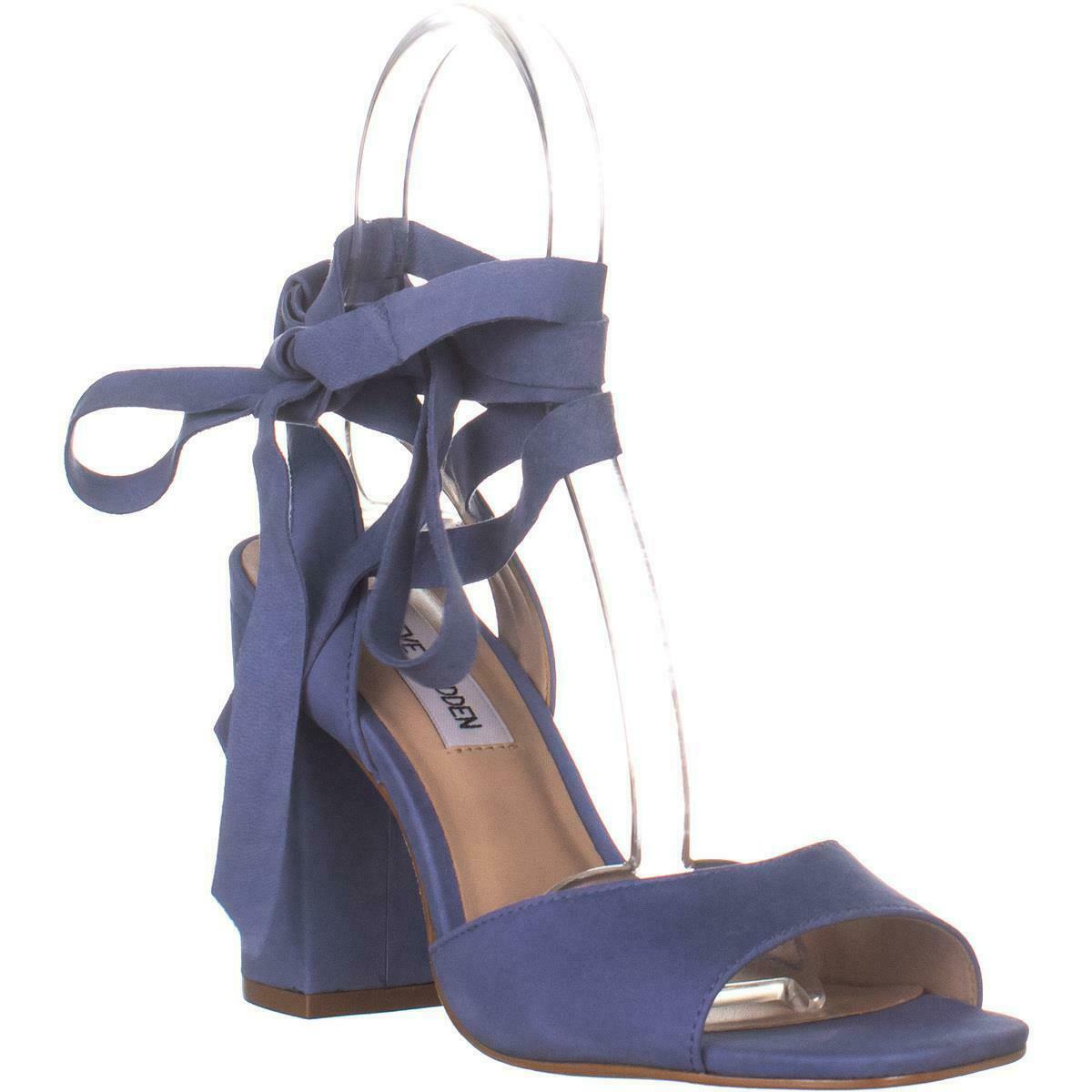 Steve Madden Kenny Ankle Strap Sandals, Blue Nubuck, 6.5 US