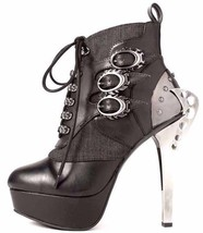 "Hades NEMO Black Lace Up Steampunk Ankle Platform Boots 5"" Metal Blade Heels - $179.00"
