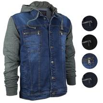 Vertical Eagle Men's Cotton Hooded Slim Fit Denim Jean Jacket MVE 1810
