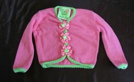 Mud Pie Mudpie Baby Girl Pink Green Little Sprout Cardigan Sweater Flowe... - $21.77