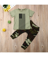 NWT American Flag Camouflage Baby Boys Patriotic Outfit Set 6-12 12-18 2... - $10.99