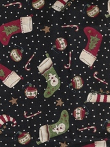 Per Fat Quarter of 2009, Christmas Winter Holiday Joy Stocking, Candy Cane, Orni - $2.13
