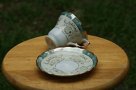 Old Vintage Cup & Saucer Gold Accents & Turquoise or Teal Blue or Green ... - $9.99