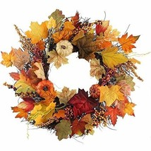 Fall Door Wreaths 22 Inch Pumpkin Harvest Wreath Autumn Silk Maple Leaves - £42.36 GBP