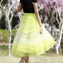 Yellow Midi Layered Tulle Skirt High Waisted Princess Tulle Skirt Holiday Outfit image 6