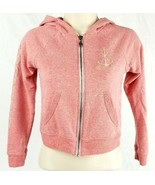 Girls Billabong Full Front Zipper Pink Sweater Jacket Medium Spell Out A... - $38.69