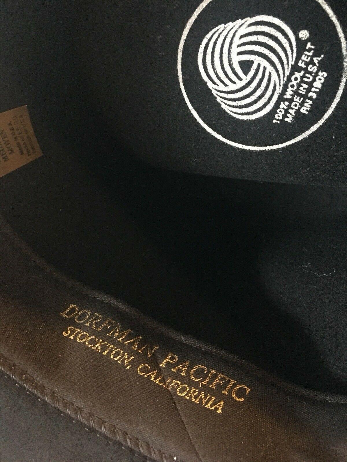 DORFMAN PACIFIC Fedora Black Wool Felt Velvet Hat Feather Sz M Brush Made USA image 11