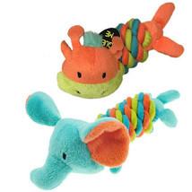 "Mini Safari Twisties Dog Toys Plush Rope Squeakers 6"" Choose Elephant or Giraffe"