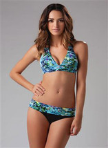 NWT GOTTEX bikini swimsuit Israel 10 halter top roll-down bottoms abstra... - $58.19