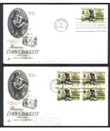 Davy Crockett first day covers single & block of 4 Aug 17, 1967 San Anto... - $2.99