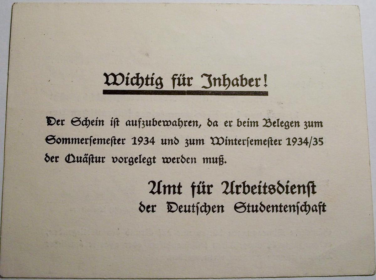 ORIGINAL PRE WW2 BERLIN UNIVERSITY STUDENT'S STAMPED ID CARD