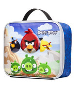 NEW Angry Birds & Green Pig Insulated Blue Lunch Container Box Tote Bag ... - $22.99