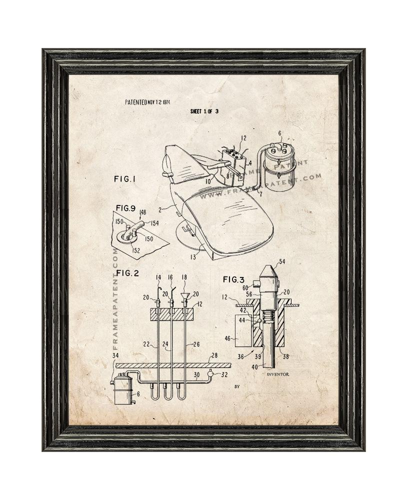Dental Office System Patent Print Old Look with Black Wood Frame - $24.95 - $109.95