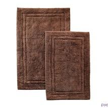 2-Pc Chocolate Brown Superior Luxurious Cotton Non-Skid Bath Rug Set - $42.52