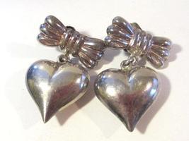 Vintage sterling silver Puffy Heart earrings - $20.00