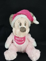 "Disney Parks Baby's 1st Christmas 9"" Minnie Mouse Pink Plush Stuffed Sew... - $14.84"