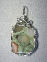 Jemel Rain Forest Rhyolite Wire Wrapped Pendant .925 Sterling Silver - $32.00