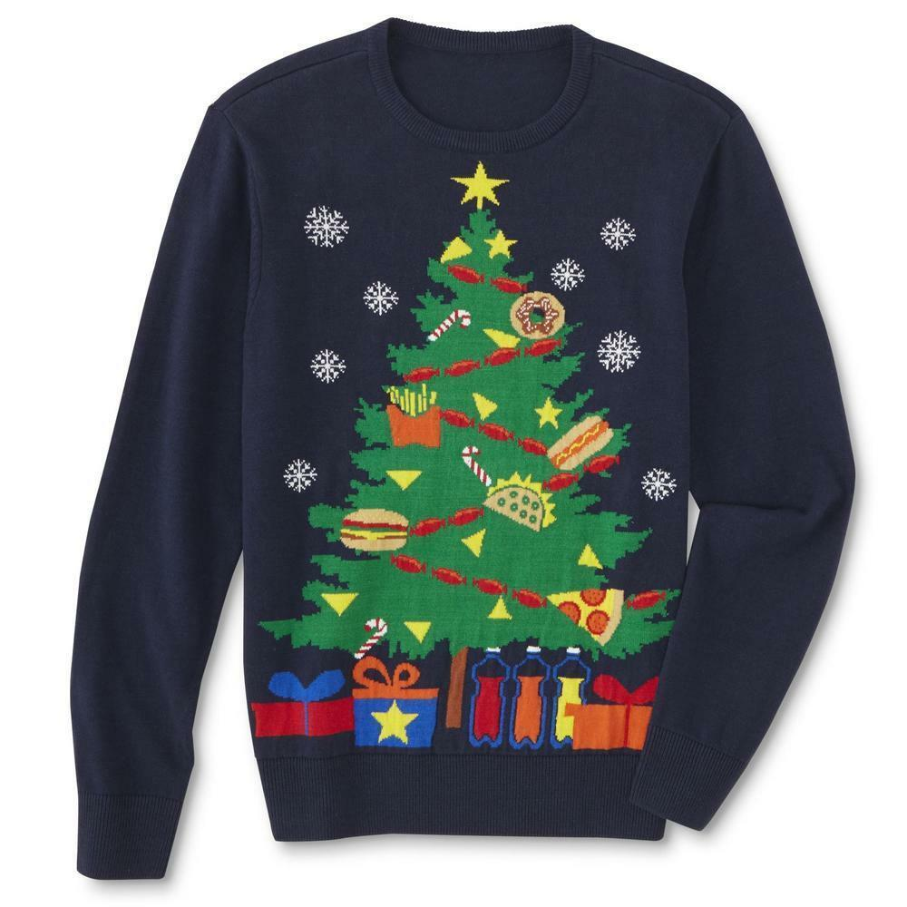 Primary image for Route 66 Mens Ugly Christmas Tree Party Holiday Sweater XL Navy Blue