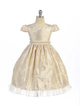 Gorgeous Champagne Ivory Brocade Pageant Flower Girl Dress Crayon Kids USA - $55.81