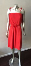 Pleated Vintage 70s Sundress Tie Summer Red Midi Beach Festival  Party D... - $42.77