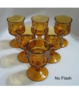 6 Amber Kings Crown Thumbprint Cordial or Wine Goblets  - $15.00