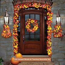 Thanksgiving Wreath Garland Teardrop Cordless Prelit LED Decor Fall Harv... - $366.27