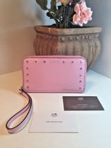 Coach Wallet Studded Liquid Gloss Leather Universal Phone F68609 Pale Pi... - $48.37