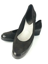 Liz Claiborne Stacy 8 M Brown Suede Leather Patent Slip On Ballet Loafer Wedge - $39.59