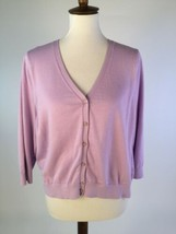 Lands' End Cardigan Sweater X-Large Lavender Purple 3/4 Sleeve Cotton  ret - $19.28